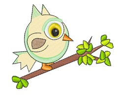Owl On Limb embroidery design