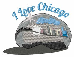 I Love Chicago embroidery design