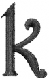Dynasty Font Lowercase k embroidery design