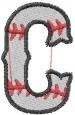 Baseball Letter C embroidery design