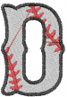 Baseball Letter D embroidery design