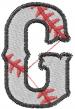 Baseball Letter G embroidery design