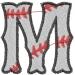 Baseball Letter M embroidery design