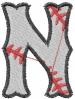 Baseball Letter N embroidery design