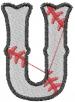 Basebal lLetter U embroidery design