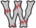 Baseball Letter W embroidery design