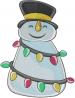Snowman Christmas Lights embroidery design