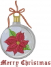 Merry Christmas Poinsettia Ornament embroidery design