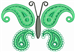 Butterfly Paisley Green embroidery design