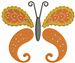 Butterfly Paisley Orange embroidery design