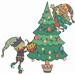 Christmas Tree Elves embroidery design