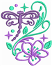 Dragonfly Floral embroidery design