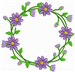 Purple Flower Wreath embroidery design