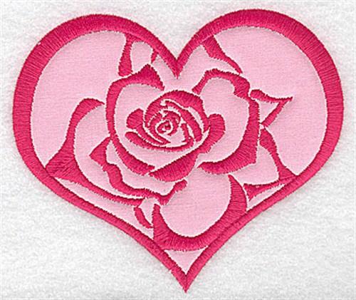 Heart rose applique embroidery design annthegran