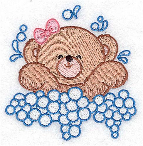 Baby Bear Splashing Embroidery Design | AnnTheGran