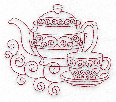 Teapot Teacup Redwork Embroidery Design Annthegran