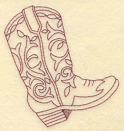 Redwork Cowboy Boot Embroidery Design - Outlines Embroidery ...