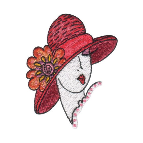 Lady in hat embroidery design annthegran
