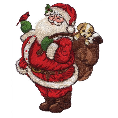 santa with puppies embroidery design