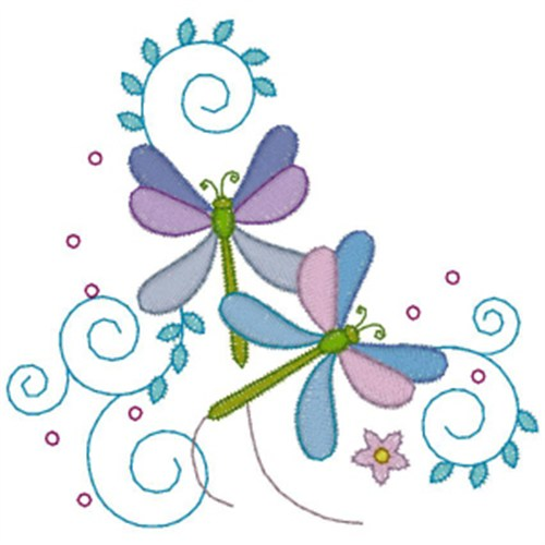 Free dragonfly flowers embroidery design annthegran