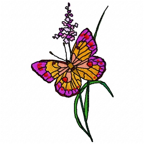 Butterfly Flower Embroidery Design  Plants Embroidery