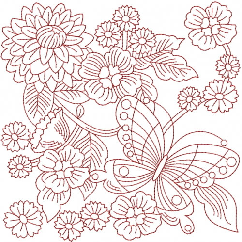 Redwork garden embroidery design annthegran for Garden embroidery designs free