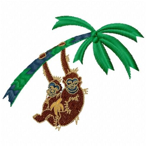 Free Banana Tree Monkeys Embroidery Design Annthegran
