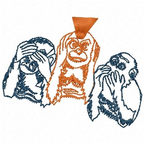 Free No Evil Monkeys Embroidery Design Annthegran