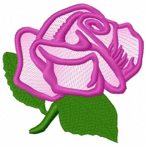 Free purple rose outline embroidery design annthegran