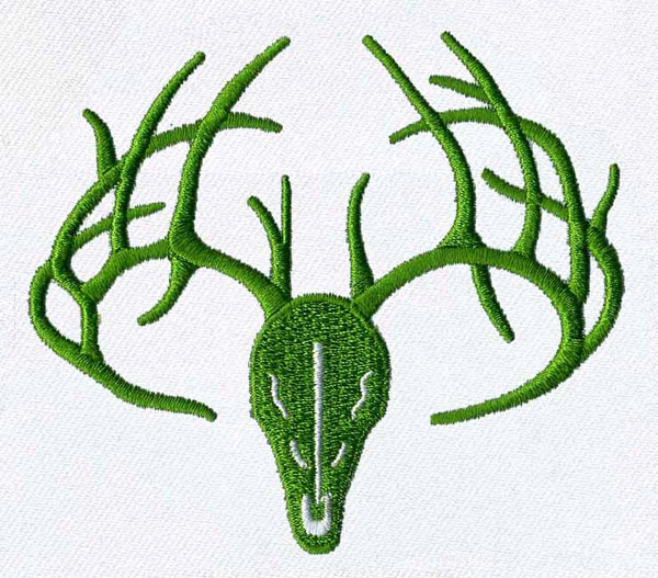 Deer skull and antlers embroidery design annthegran