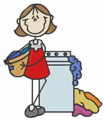 Girl Washing Clothes Embroidery Design | AnnTheGran