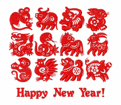 chinese new year symbols embroidery design