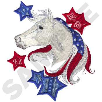 Patriotic Horse Applique Embroidery Design Annthegran