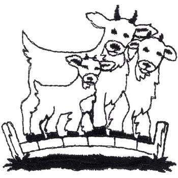 Billy Goats Gruff Outline Embroidery Design Annthegran