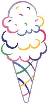 Ice Cream Cone Outline Embroidery Design Foods