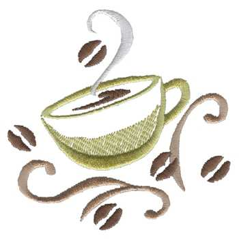 Coffee Cup Accent Embroidery Design | AnnTheGran