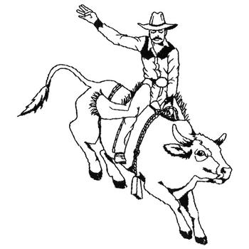 Bull Rider Outline Embroidery Design