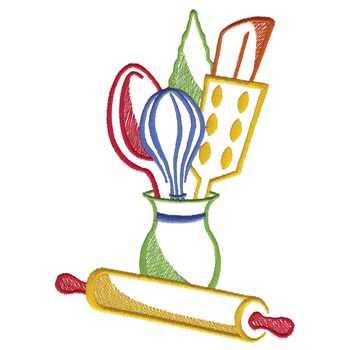 kitchen embroidery designs.  Kitchen Utensils Embroidery Design AnnTheGran