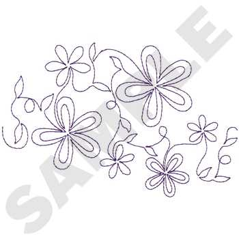 Flower Outline Pattern Embroidery Design  AnnTheGran