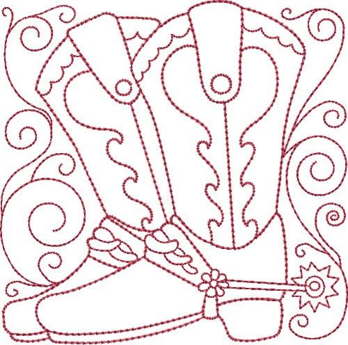 Redwork Cowboy Boots Embroidery Design Annthegran