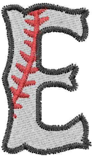 Baseball Letter E Embroidery Design | AnnTheGran