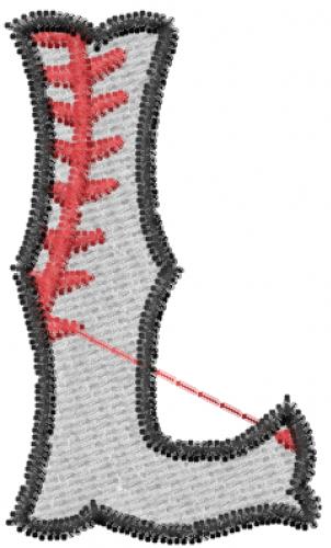 Baseball Letter L Embroidery Design