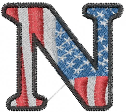 American Flag Letter N Embroidery Design | AnnTheGran