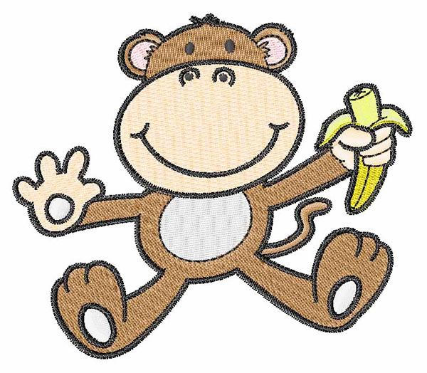 Cute Monkey Embroidery Design Annthegran