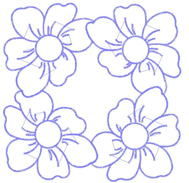 Four Flowers Embroidery Design Annthegran