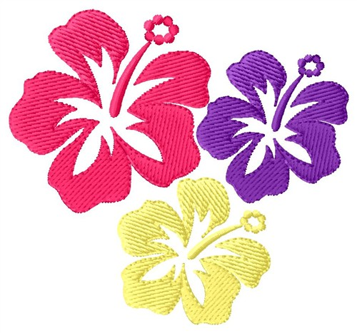 Hawaiian Flowers Embroidery Design