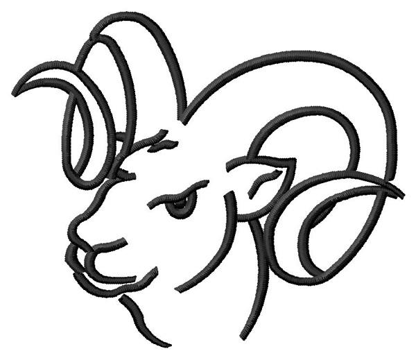 ram outline embroidery design annthegran