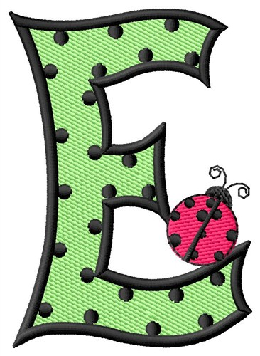 Ladybug Letter E Embroidery Design | AnnTheGran