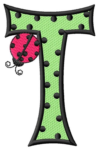 Ladybug Letter T Embroidery Design | AnnTheGran