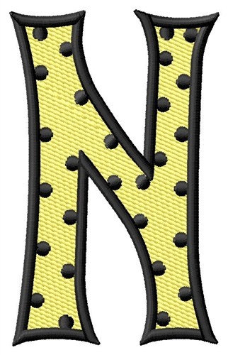 Polka Dot Letter N Embroidery Design